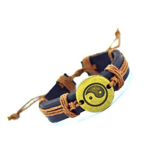 Leather Yin and Yang Bracelet for Male or Female