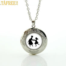 Load image into Gallery viewer, Mother Kissing Child Silhouette Locket and  Chain Necklace