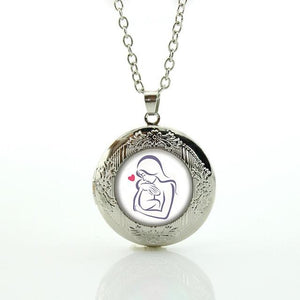 Mother Kissing Child Silhouette Locket and  Chain Necklace
