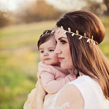 Load image into Gallery viewer, 2Pcs Set Mom and Baby Gold Leaf Matching Headband