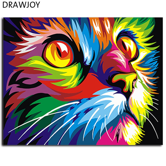 DIY Oil Paint by numbers kit - Neon Colour Cat