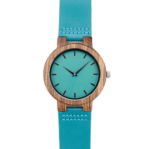 Bobobird Mens Blue Face Bamboo Watch, Luxury Wooden Bamboo  With Leather Band