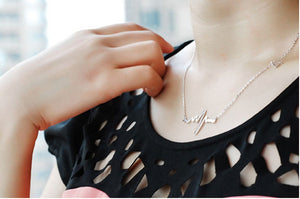 Electrocardiogram ECG  Necklace with charm heart.