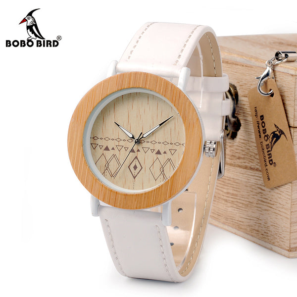 BOBO BIRD  Wrist Watch For Women. Natural Bamboo & Steel Watch in Gift Box