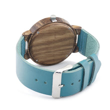 Load image into Gallery viewer, Bobobird Mens Blue Face Bamboo Watch, Luxury Wooden Bamboo  With Leather Band