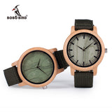 BOBO BIRD Bamboo Wood Watch for both Women or Men. OliveGreen with Nylon Straps Watch