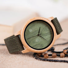 Load image into Gallery viewer, BOBO BIRD Bamboo Wood Watch for both Women or Men. OliveGreen with Nylon Straps Watch