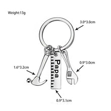 Load image into Gallery viewer, Keyring for  Papa, Dad or Father with adorable hammer, ruler and wrench tools