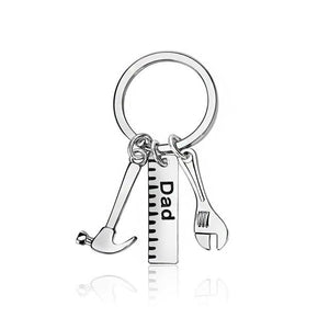Keyring for  Papa, Dad or Father with adorable hammer, ruler and wrench tools