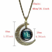 Load image into Gallery viewer, 12 Constellation Glass Cabochon Pendant & Crescent Moon Chain Necklace