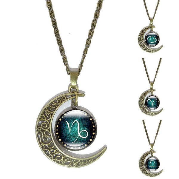 12 Constellation Glass Cabochon Pendant & Crescent Moon Chain Necklace