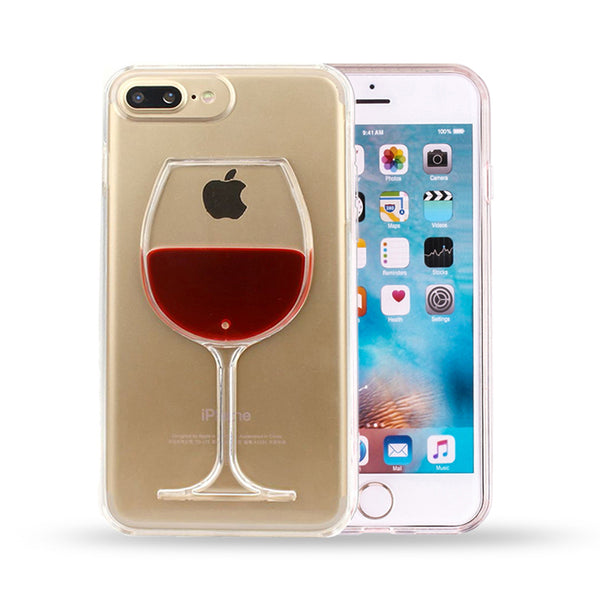 Red Wine Glass Transparent Phone Case For iPhone