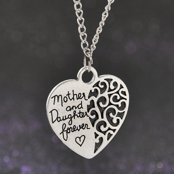 """Mom and Daughter Love"" Heart Necklace"