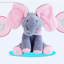 Load image into Gallery viewer, Peek-a-boo Plush Elephant Sings and Moves Ears!