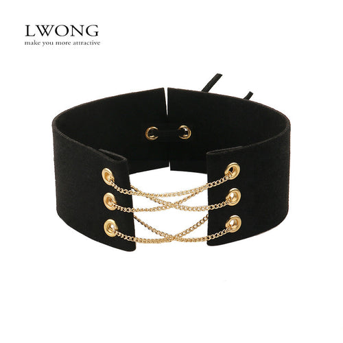 Glamorous Black Velvet Choker With Gold Chains