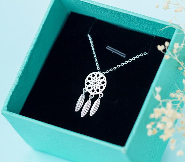 Sterling Silver Dreamcatcher feather Charm Necklace