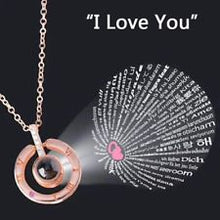 "Load image into Gallery viewer, Projection Necklace ""I Love You"" in 100 Languages"