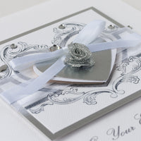 Handmade Engagement Card  'Rococo - Silver'