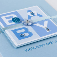 Luxury Boxed New Baby Card  'Welcome Baby Boy'