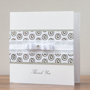 Handmade Thank You Card 'Silver Swirls'