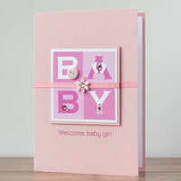 Luxury Boxed New Baby Card  'Welcome Baby Girl'