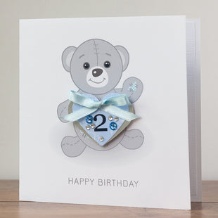 Handmade Kids Birthday Card 'Blue Teddy Bear'
