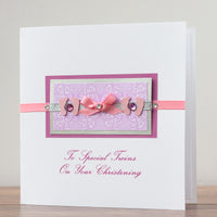 Handmade Christening Card 'Baby Girls Twins Christening'