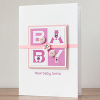 Luxury Boxed New Baby Card  'Wow! It's Twin Girls'