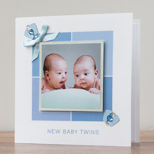 New Baby Photo Card 'Baby Boy Twins'