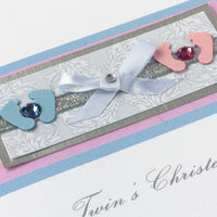 Handmade Christening Card  'Mixed Twins Christening'