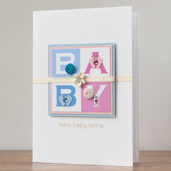 Luxury Boxed New Baby Card  'Double Joy - Boy and Girl'