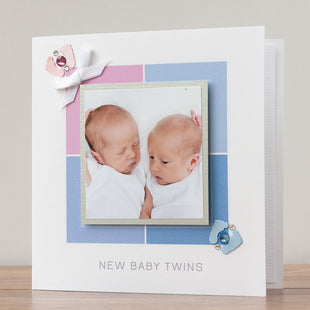 New Baby Photo Card 'Baby Twins - Boy and Girl'