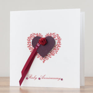 Handmade Anniversary Card 'Ruby Wedding'