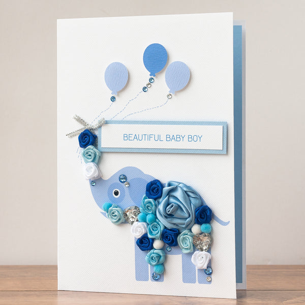 Luxury Boxed New Baby Card 'Blue Elephant'