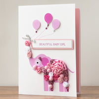 Luxury Boxed New Baby Card 'Pink Elephant'