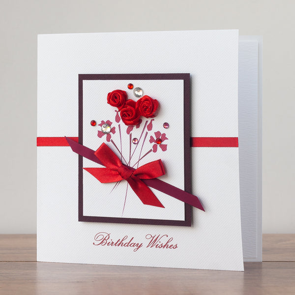 Astonishing Handmade Birthday Card Red Roses Bouquet Funny Birthday Cards Online Fluifree Goldxyz