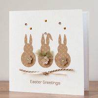Handmade Easter Card 'Three Bunnies'