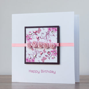 Handmade Birthday Card 'Tea Rose'
