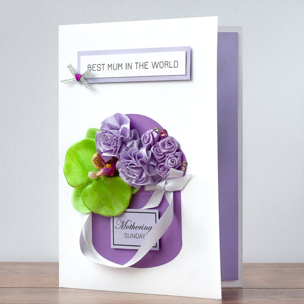 Luxury Boxed Mother's Day Card 'Lilac Posy'