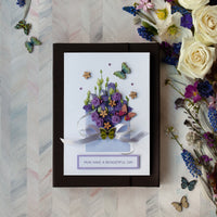 Luxury Boxed Handmade Card  'Flowers and Butterflies'