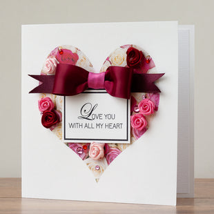 Handmade Valentines Card 'Heart of Roses'
