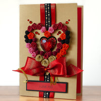 A5 Boxed Handmade Valentines Card 'The Luxe Heart'