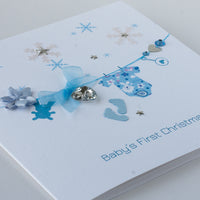 Handmade Christmas Card 'Baby's First Christmas - Boy'