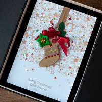 Luxury Boxed Christmas Card 'Santa's Stocking'