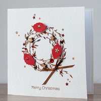 Handmade Christmas Card 'Brown Holly Wreath'