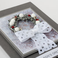Luxury Boxed Christmas Card 'Pom Pom Silver Wreath'