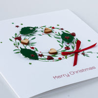 Handmade Christmas Card 'Green Holly Wreath'