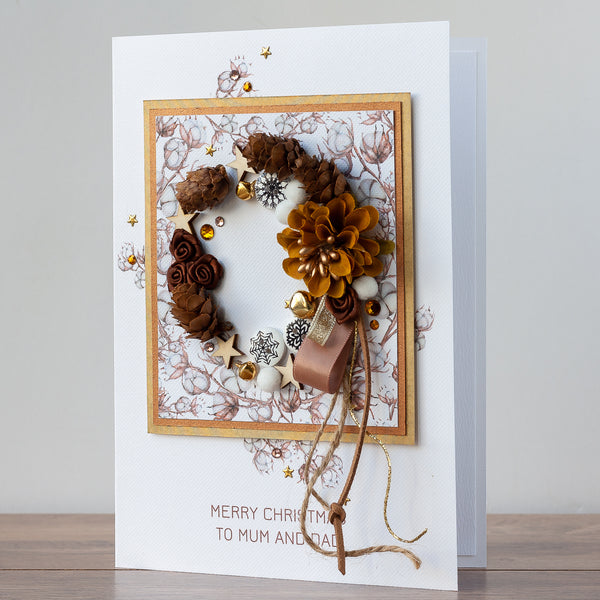 Luxury Boxed Christmas Card 'Pinecone and Cotton Wreath'