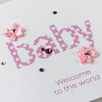 Handmade New Baby Card 'Baby Joy - Girl'