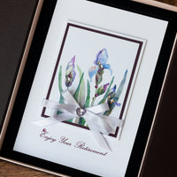 Luxury Boxed Retirement Card 'Iris Bouquet'